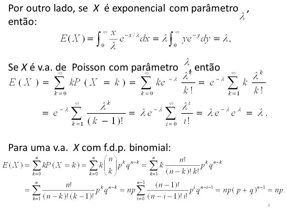 Por outro lado, se X é exponencial com parâmetro , então: