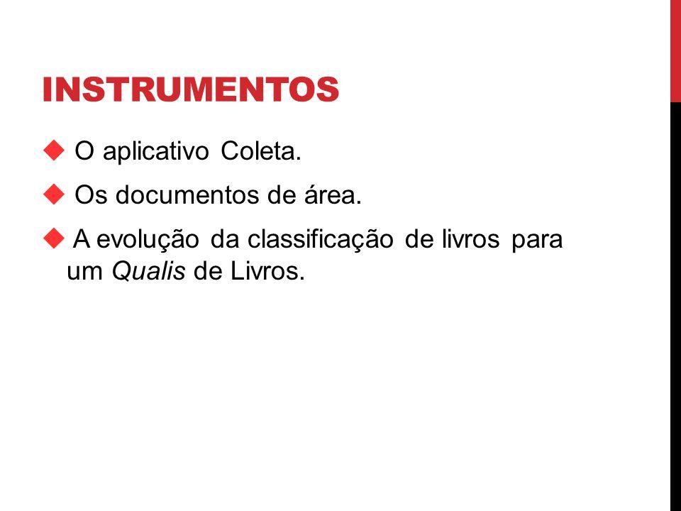 INSTRUMENTOS O aplicativo Coleta. Os documentos de área.