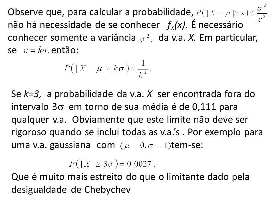 Observe que, para calcular a probabilidade, não há necessidade de se conhecer fX(x). É necessário conhecer somente a variância da v.a. X. Em particular, se então: