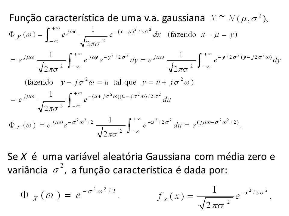 Se X é uma variável aleatória Gaussiana com média zero e variância a função característica é dada por: