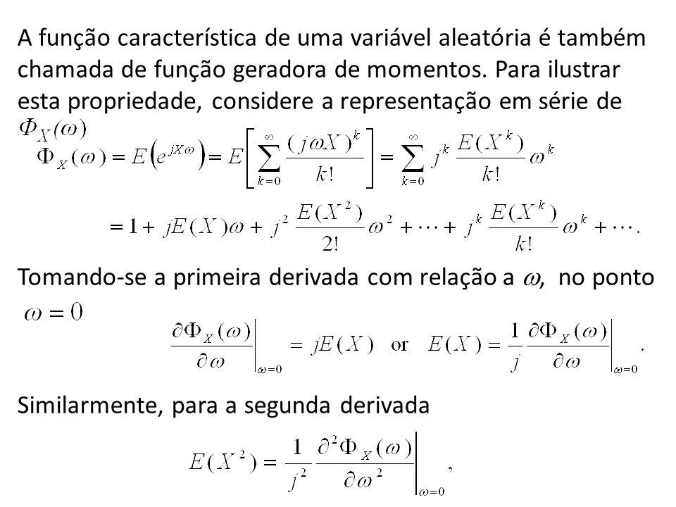 A função característica de uma variável aleatória é também chamada de função geradora de momentos. Para ilustrar esta propriedade, considere a representação em série de