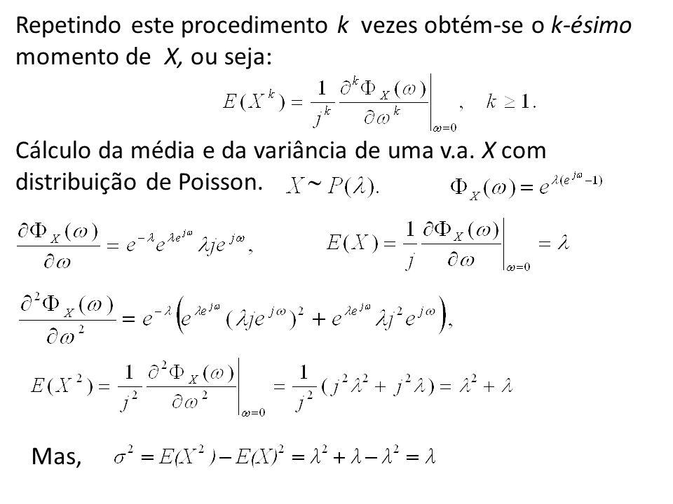 Repetindo este procedimento k vezes obtém-se o k-ésimo momento de X, ou seja: