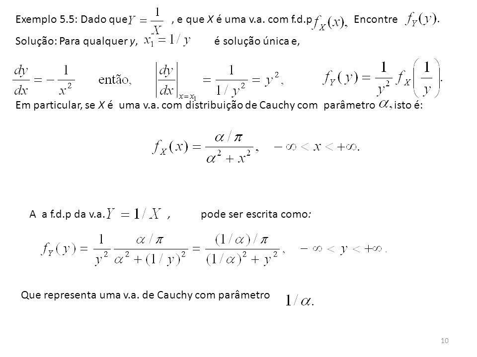 Exemplo 5.5: Dado que , e que X é uma v.a. com f.d.p Encontre