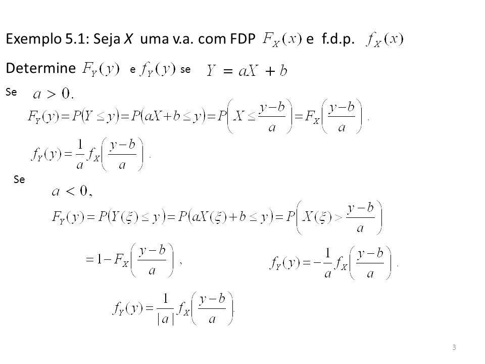Exemplo 5.1: Seja X uma v.a. com FDP e f.d.p. Determine e se