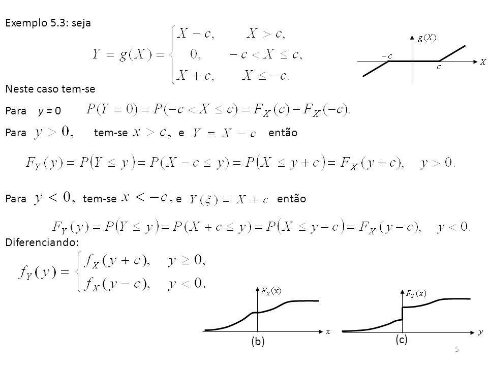 Exemplo 5.3: seja Neste caso tem-se. Para y = 0. Para tem-se e então.