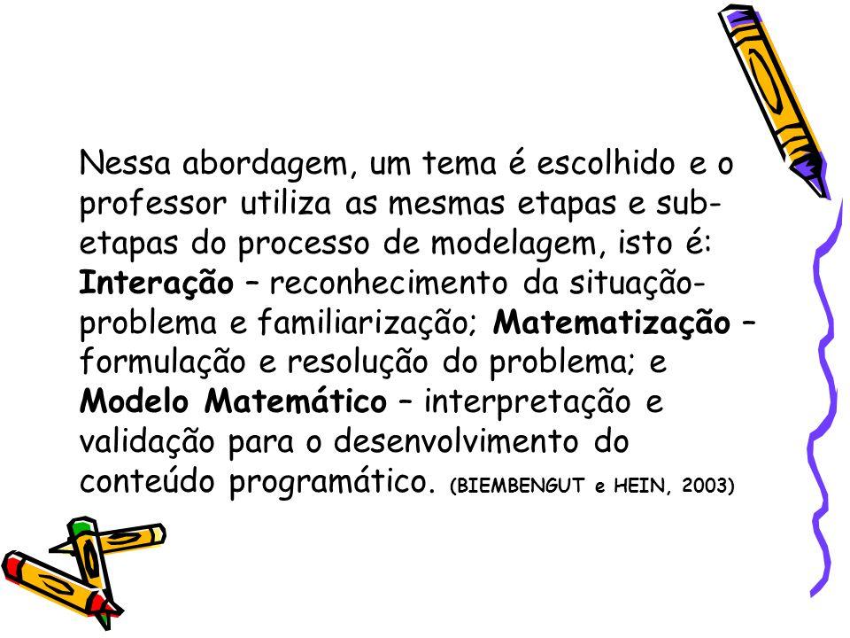 Nessa abordagem, um tema é escolhido e o professor utiliza as mesmas etapas e sub-etapas do processo de modelagem, isto é: Interação – reconhecimento da situação-problema e familiarização; Matematização – formulação e resolução do problema; e Modelo Matemático – interpretação e validação para o desenvolvimento do conteúdo programático.