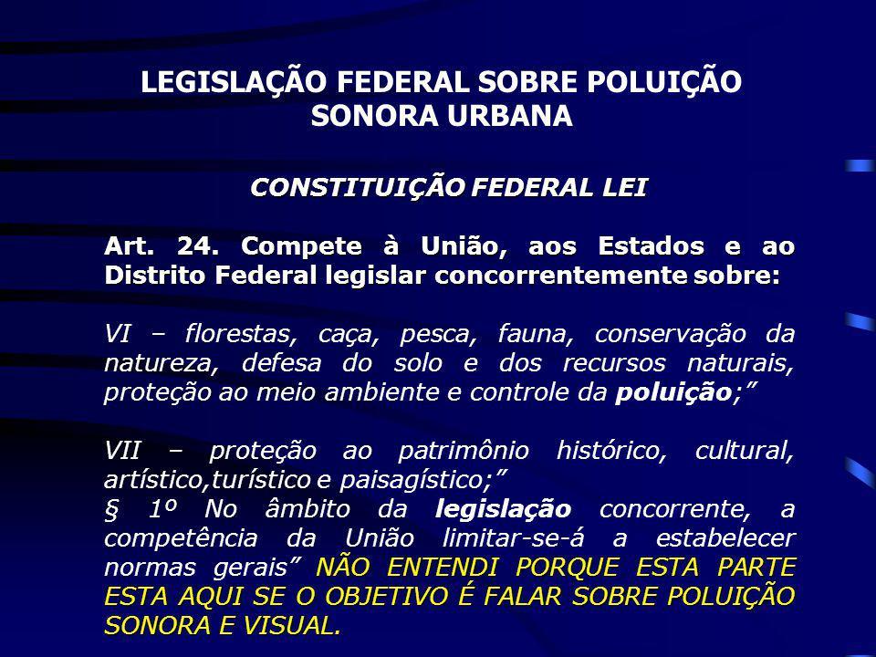 LEGISLAÇÃO FEDERAL SOBRE POLUIÇÃO SONORA URBANA