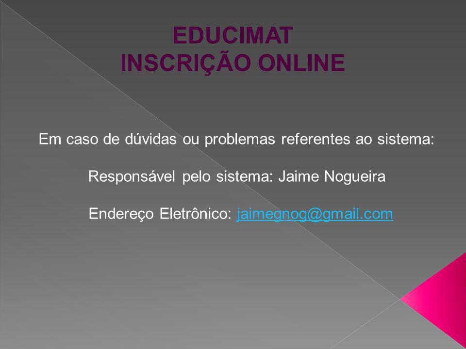 EDUCIMAT INSCRIÇÃO ONLINE