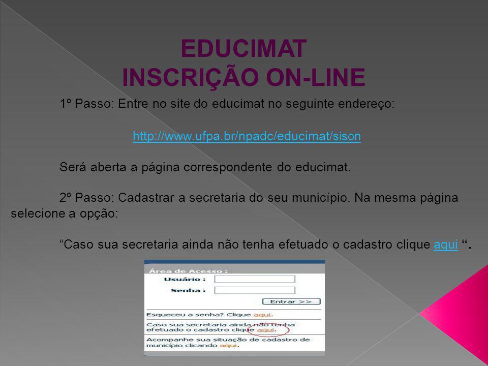 EDUCIMAT INSCRIÇÃO ON-LINE