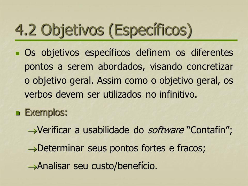 4.2 Objetivos (Específicos)