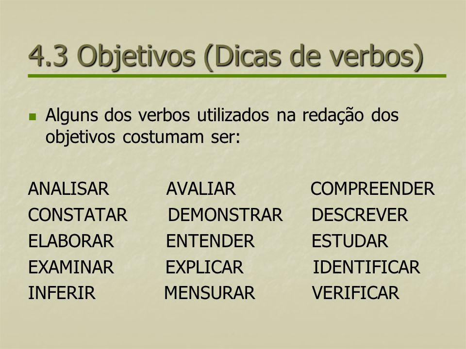 4.3 Objetivos (Dicas de verbos)
