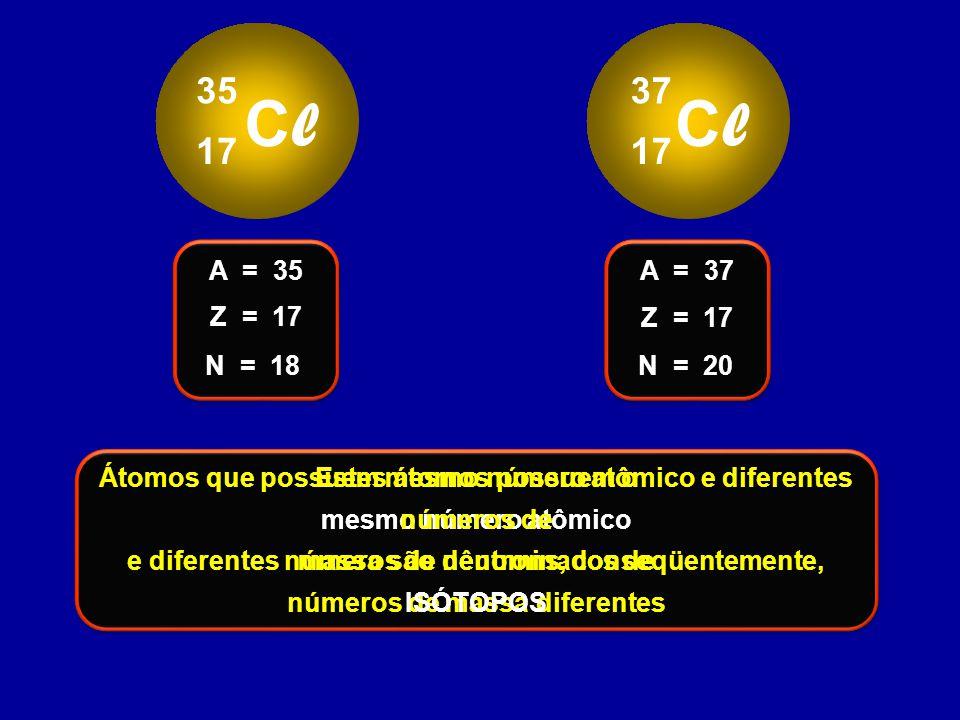 Cl 35. 17. Cl. 37. 17. Z = 17. A = 35. N = 18. Z = 17. A = 37. N = 20. Estes átomos possuem o.