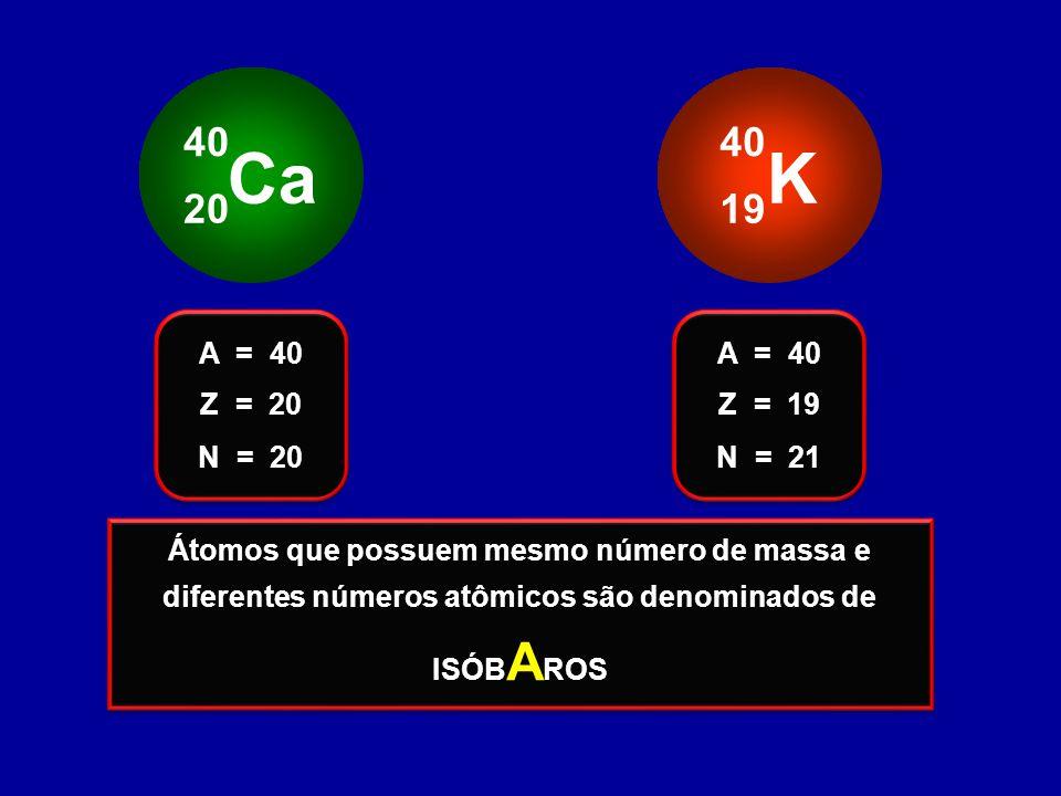 Ca 40. 20. K. 40. 19. Z = 20. A = 40. N = 20. Z = 19. A = 40. N = 21.