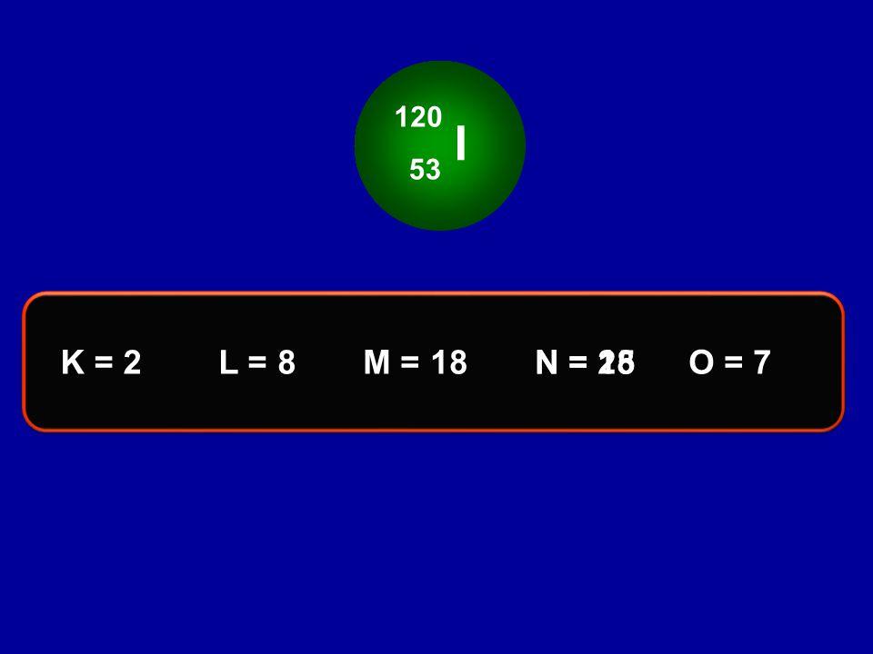 I 120 53 K = 2 L = 8 M = 18 N = 18 N = 25 O = 7