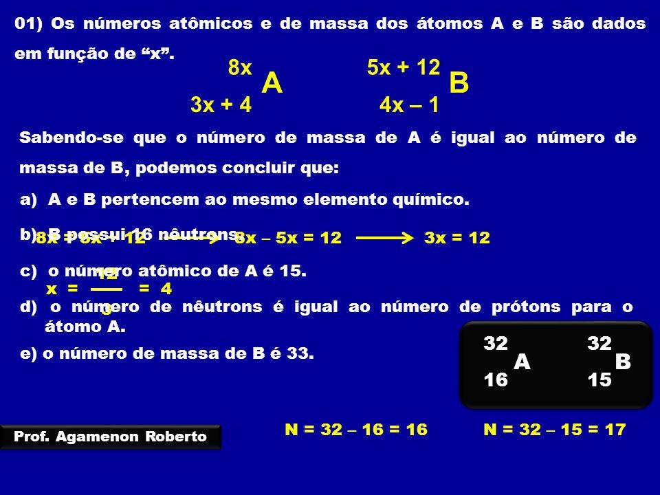 01) Os números atômicos e de massa dos átomos A e B são dados em função de x .