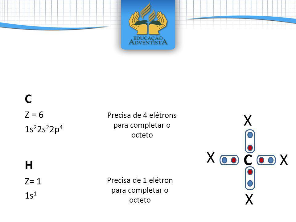 C Z = 6. 1s22s22p4. H. Z= 1. 1s1. Precisa de 4 elétrons para completar o octeto. X. c. X. C.