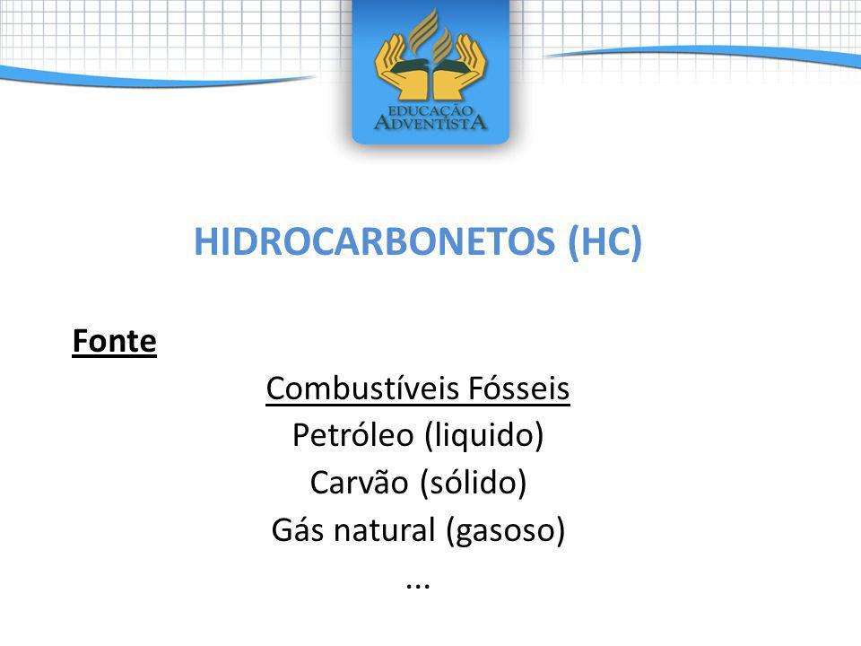 HIDROCARBONETOS (HC) Fonte Combustíveis Fósseis Petróleo (liquido)