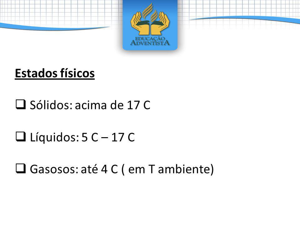 Estados físicos Sólidos: acima de 17 C Líquidos: 5 C – 17 C Gasosos: até 4 C ( em T ambiente)