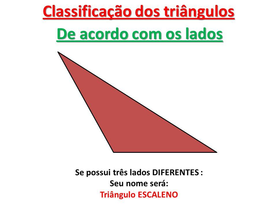 Classificação dos triângulos Se possui três lados DIFERENTES :