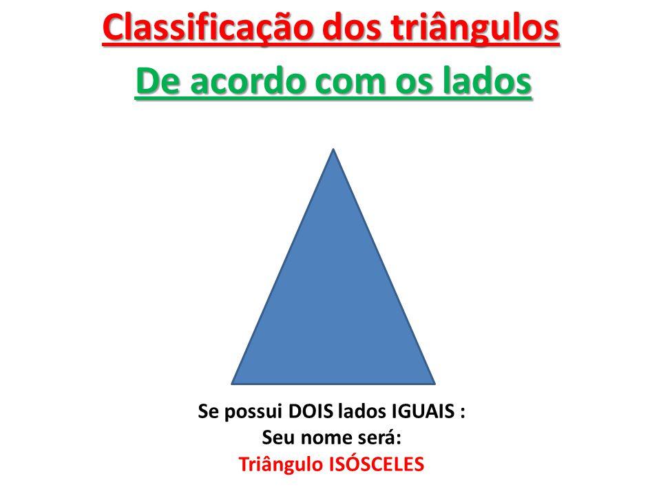 Classificação dos triângulos Se possui DOIS lados IGUAIS :