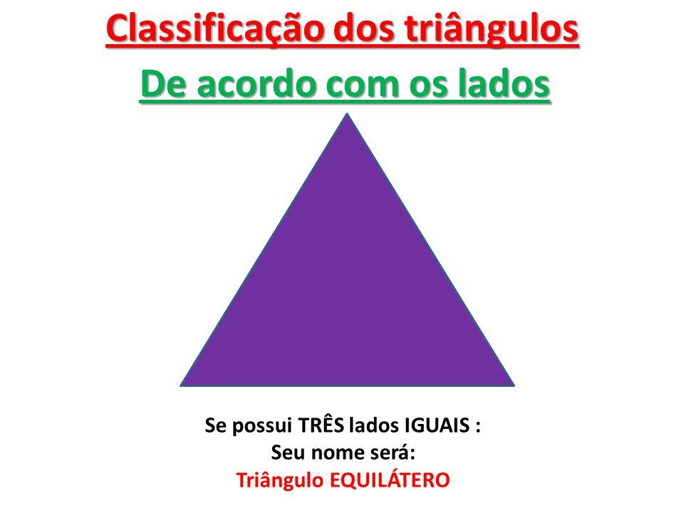 Classificação dos triângulos Se possui TRÊS lados IGUAIS :