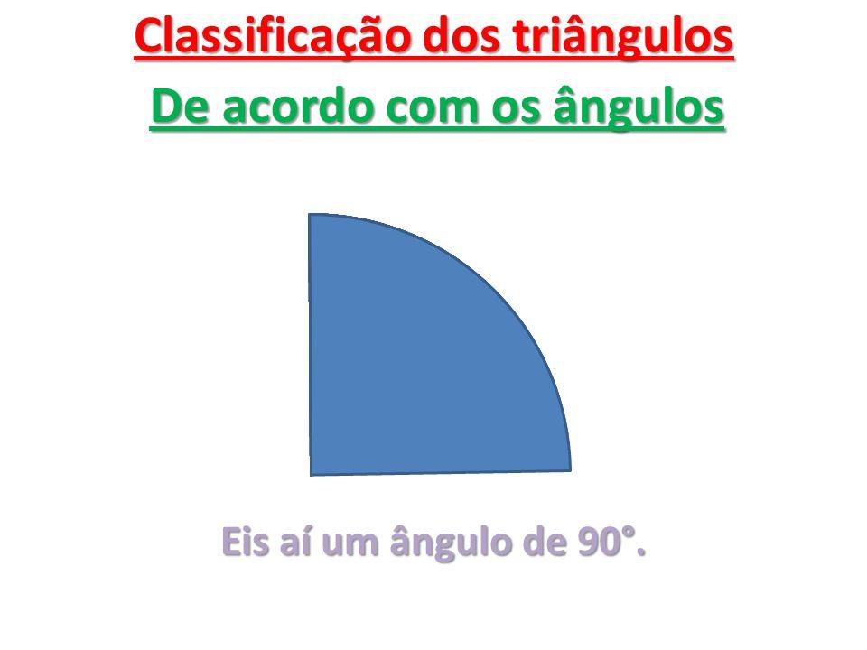 Classificação dos triângulos De acordo com os ângulos