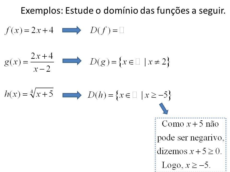 Exemplos: Estude o domínio das funções a seguir.
