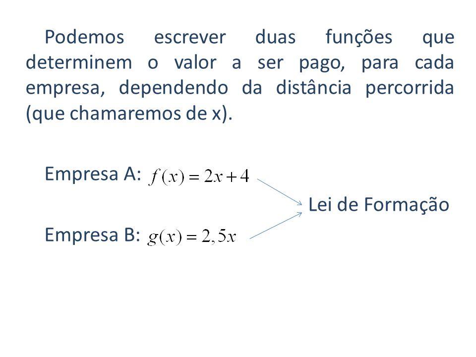 Podemos escrever duas funções que determinem o valor a ser pago, para cada empresa, dependendo da distância percorrida (que chamaremos de x).