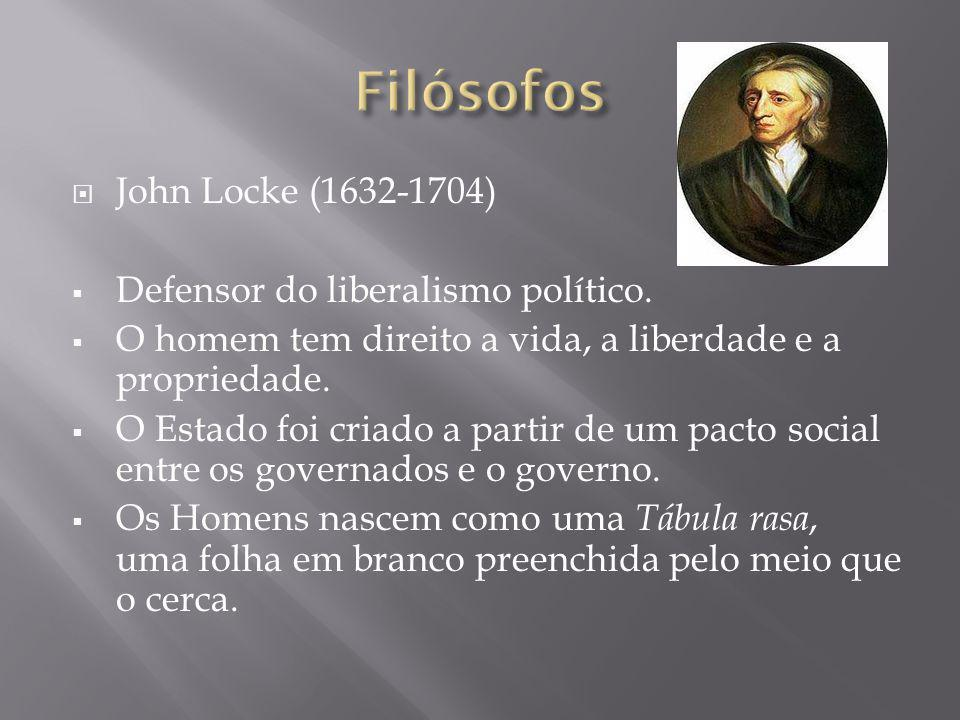 Filósofos John Locke (1632-1704) Defensor do liberalismo político.