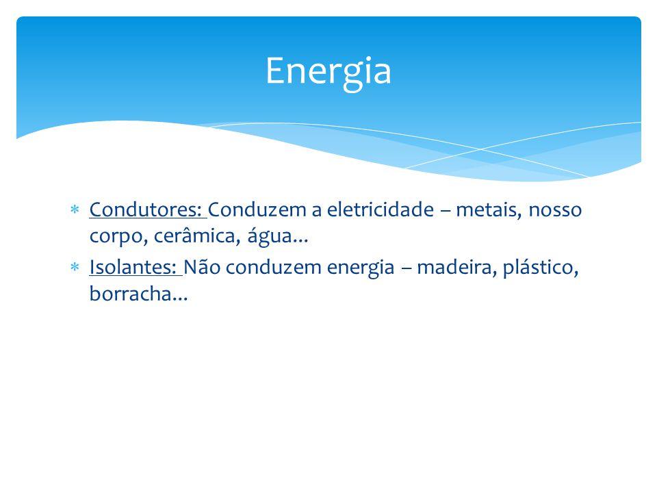 Energia Condutores: Conduzem a eletricidade – metais, nosso corpo, cerâmica, água...