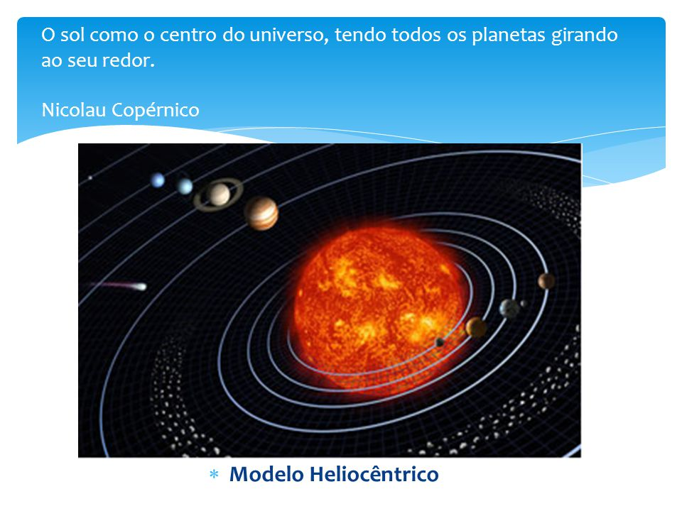 O sol como o centro do universo, tendo todos os planetas girando ao seu redor. Nicolau Copérnico