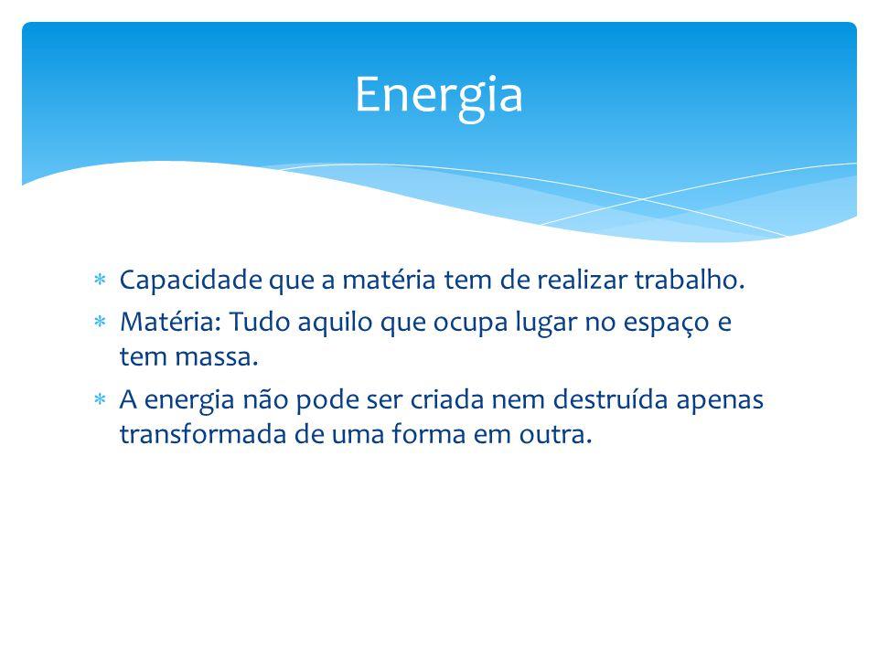 Energia Capacidade que a matéria tem de realizar trabalho.