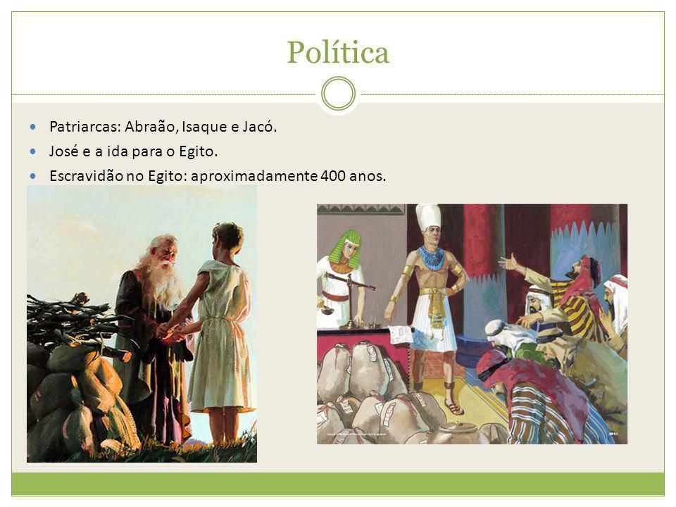Política Patriarcas: Abraão, Isaque e Jacó. José e a ida para o Egito.