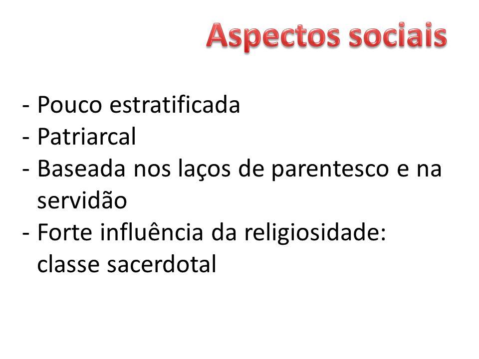 Aspectos sociais Pouco estratificada Patriarcal