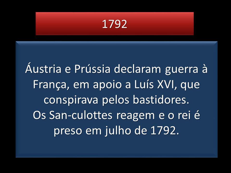 Os San-culottes reagem e o rei é preso em julho de 1792.