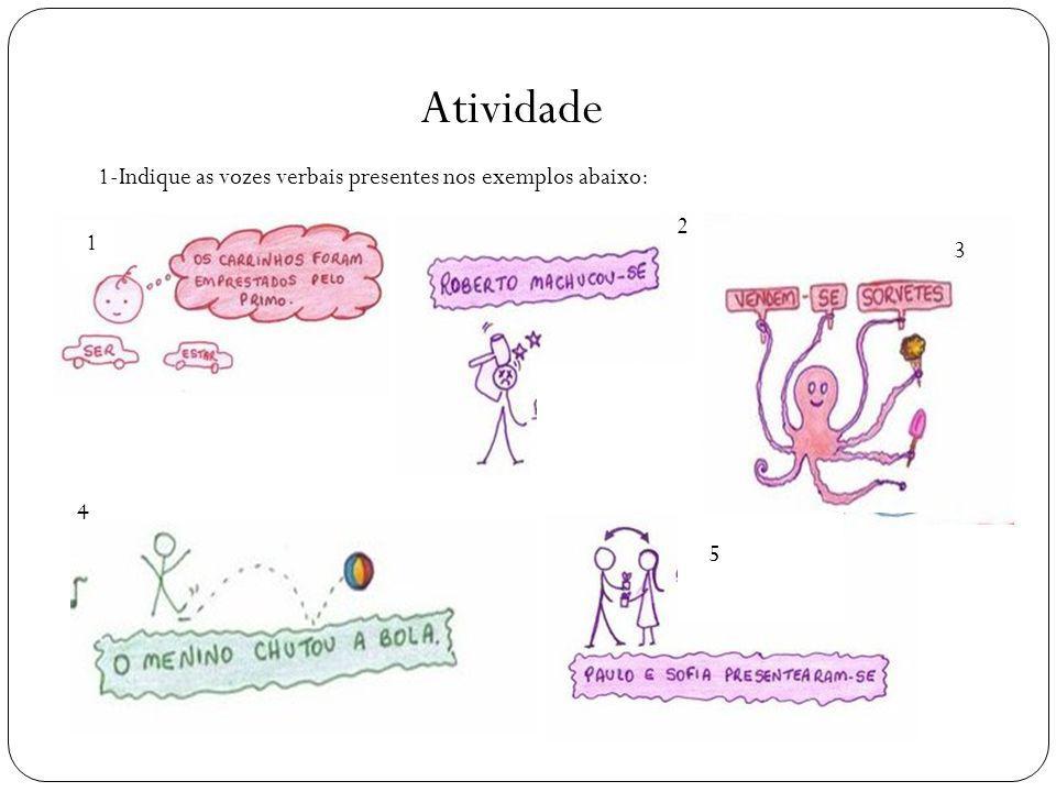Atividade 1-Indique as vozes verbais presentes nos exemplos abaixo: 2