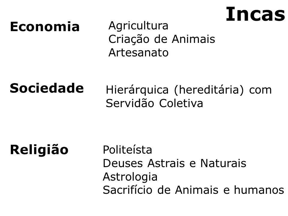 Incas Economia Sociedade Religião Agricultura Criação de Animais