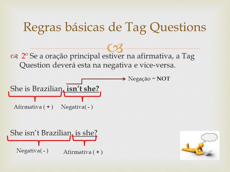 Regras básicas de Tag Questions