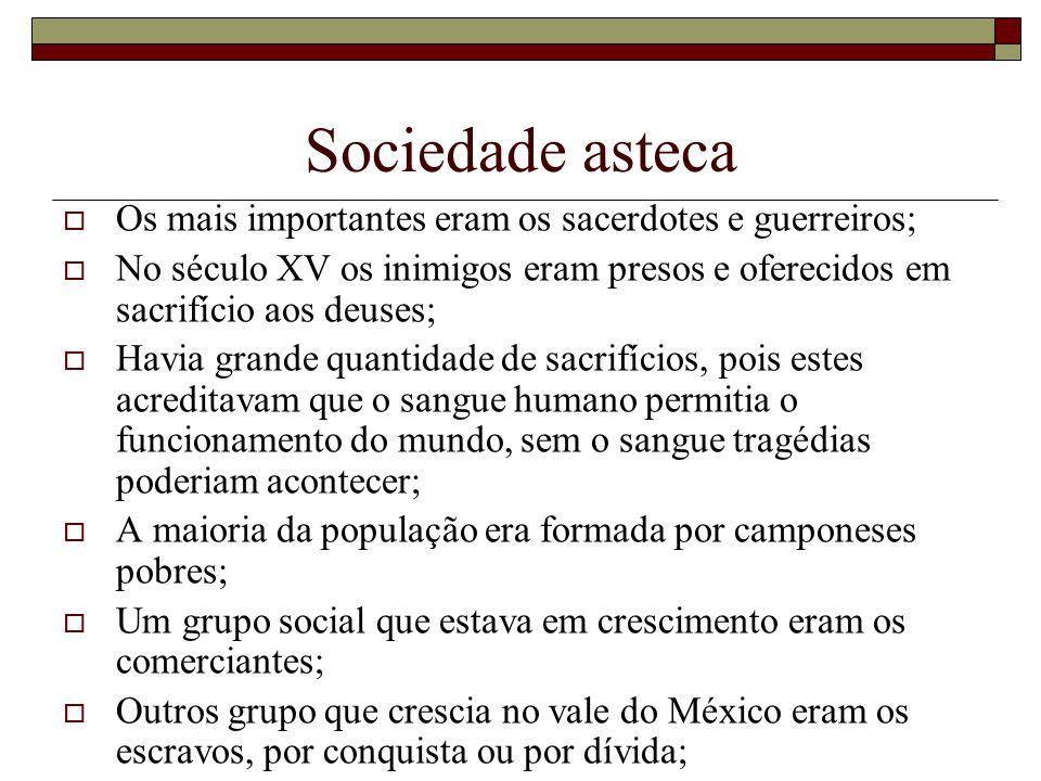 Sociedade asteca Os mais importantes eram os sacerdotes e guerreiros;
