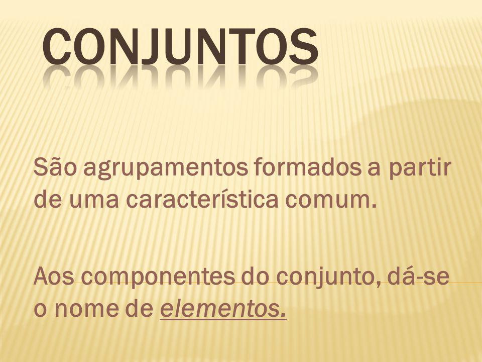 Conjuntos São agrupamentos formados a partir de uma característica comum.
