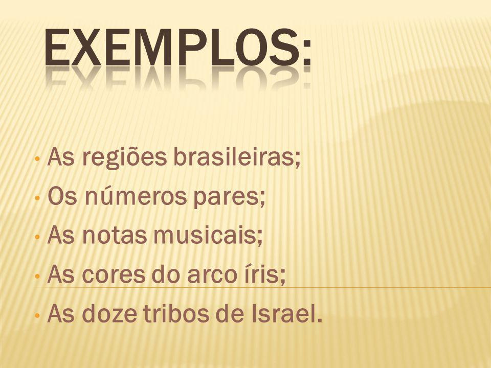 Exemplos: As regiões brasileiras; Os números pares; As notas musicais;