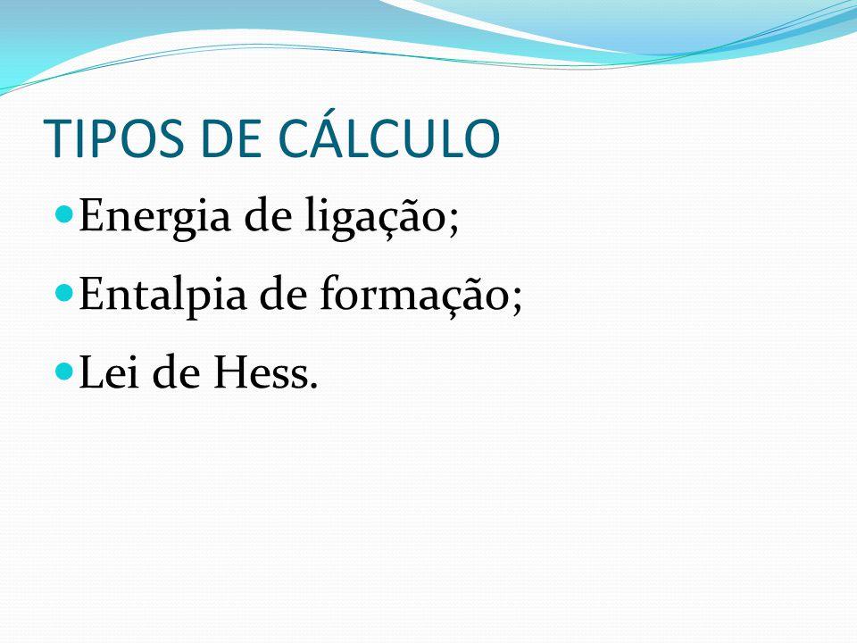 TIPOS DE CÁLCULO Energia de ligação; Entalpia de formação;