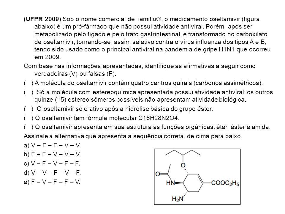 (UFPR 2009) Sob o nome comercial de Tamiflu®, o medicamento oseltamivir (figura abaixo) é um pró-fármaco que não possui atividade antiviral.