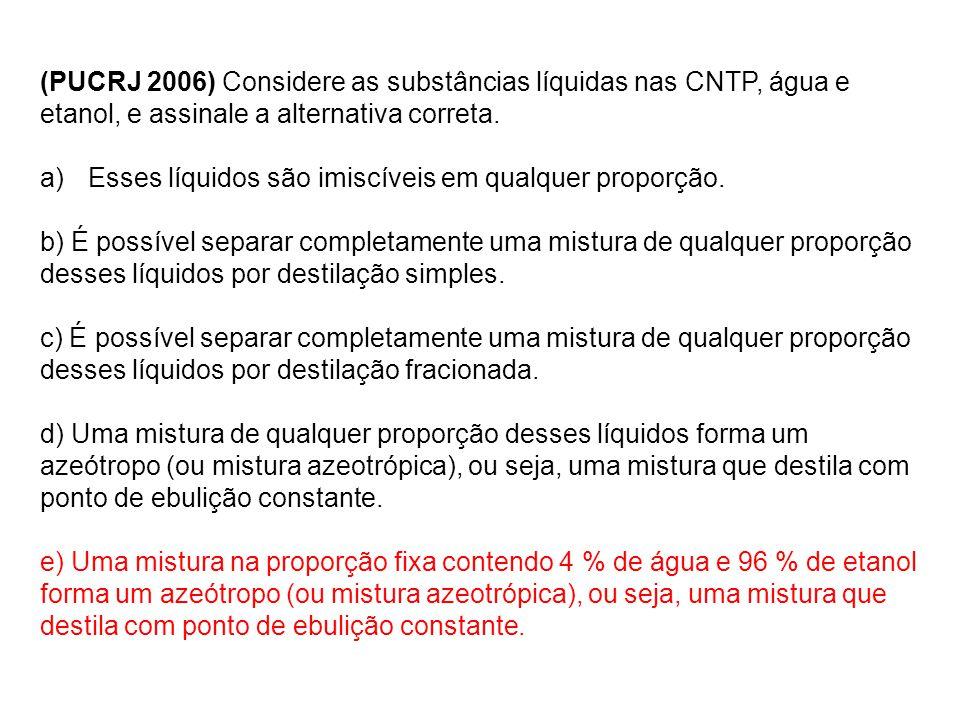(PUCRJ 2006) Considere as substâncias líquidas nas CNTP, água e etanol, e assinale a alternativa correta.