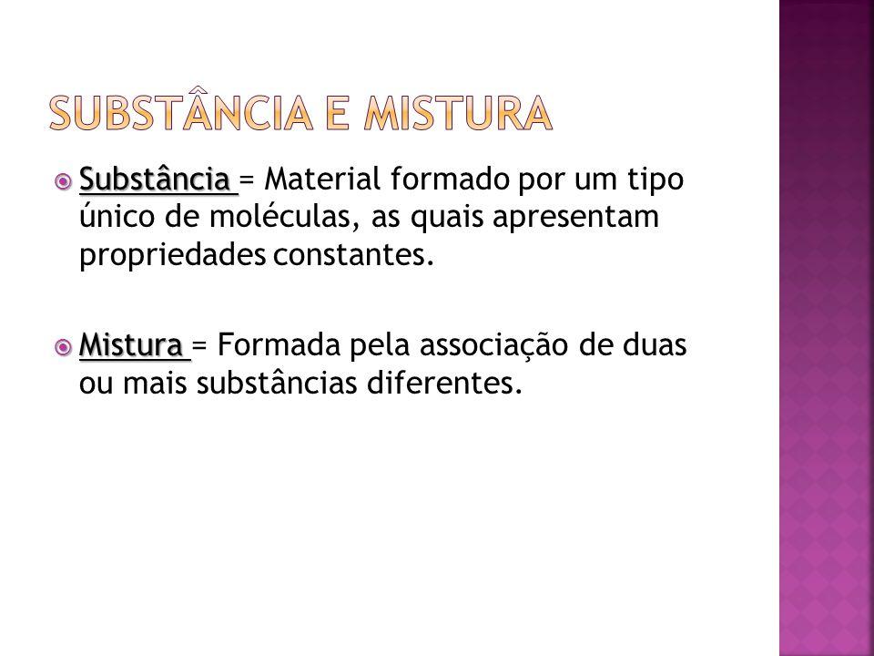 Substância e Mistura Substância = Material formado por um tipo único de moléculas, as quais apresentam propriedades constantes.