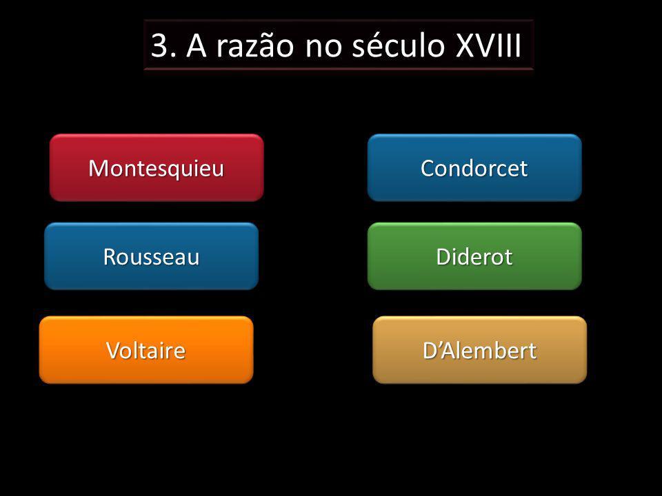3. A razão no século XVIII Montesquieu Condorcet Rousseau Diderot