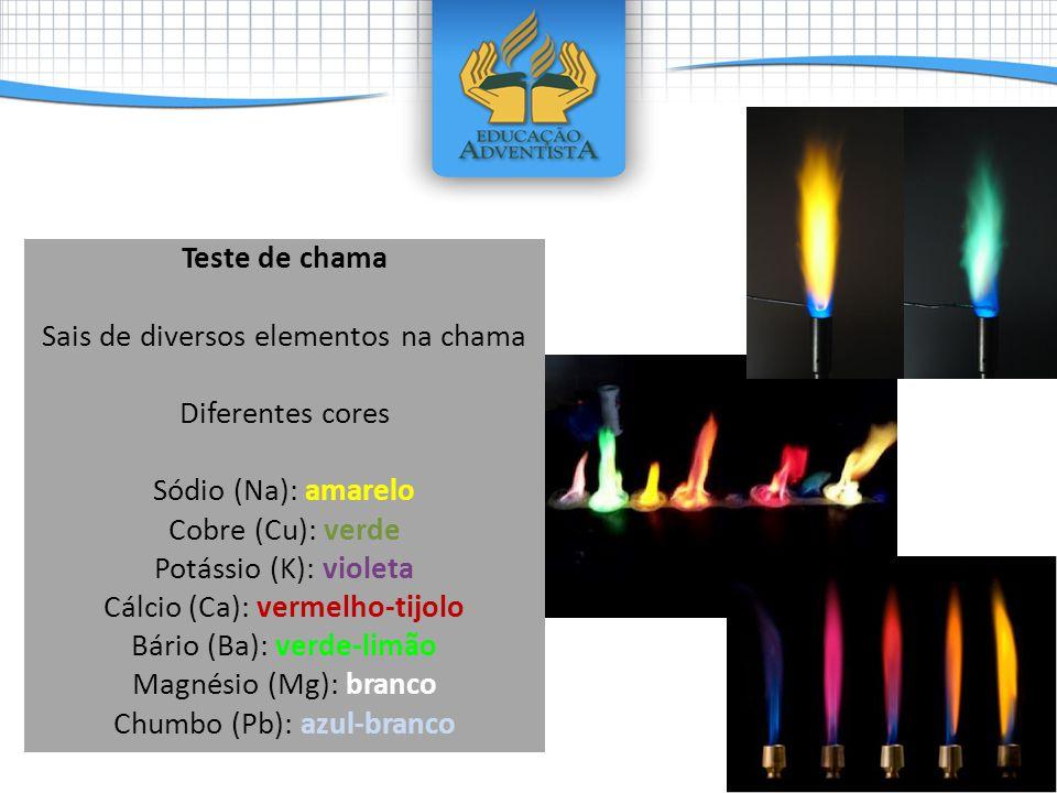 Teste de chama Sais de diversos elementos na chama Diferentes cores Sódio (Na): amarelo Cobre (Cu): verde Potássio (K): violeta Cálcio (Ca): vermelho-tijolo Bário (Ba): verde-limão Magnésio (Mg): branco Chumbo (Pb): azul-branco