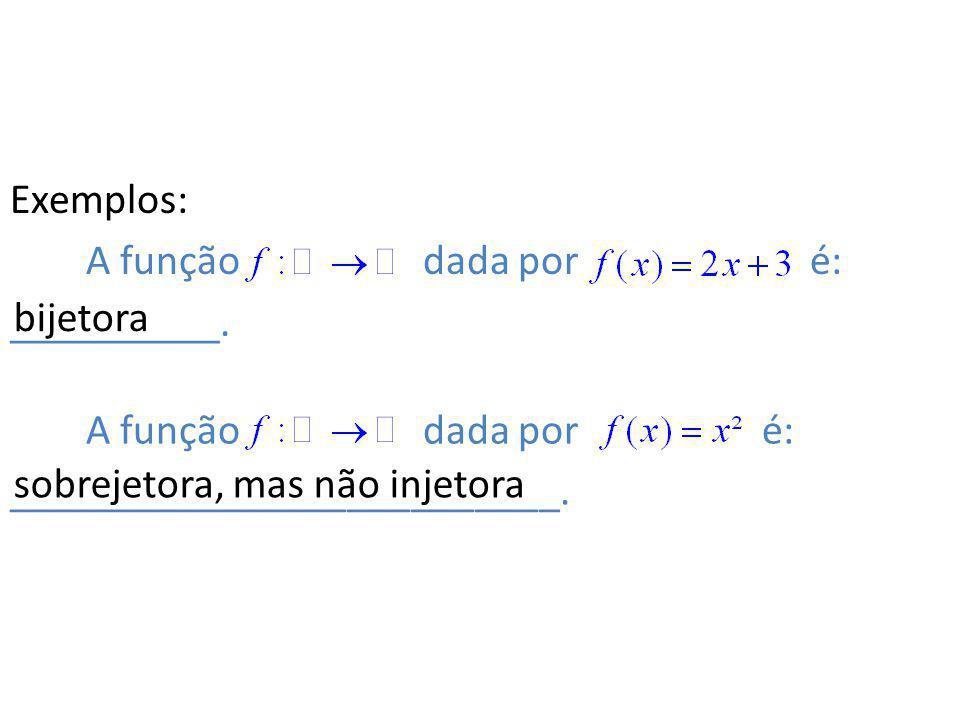 Exemplos: A função dada por é: __________.