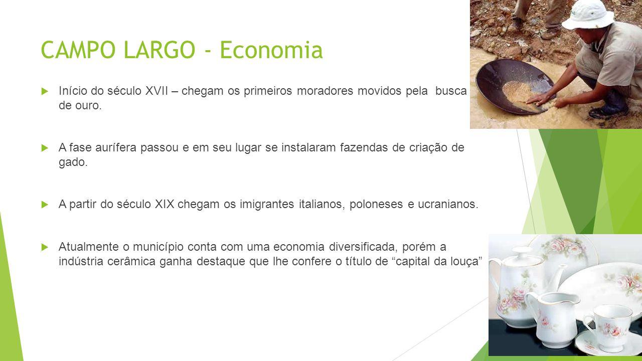 CAMPO LARGO - Economia Início do século XVII – chegam os primeiros moradores movidos pela busca de ouro.