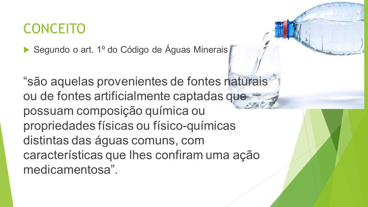 CONCEITO Segundo o art. 1º do Código de Águas Minerais.